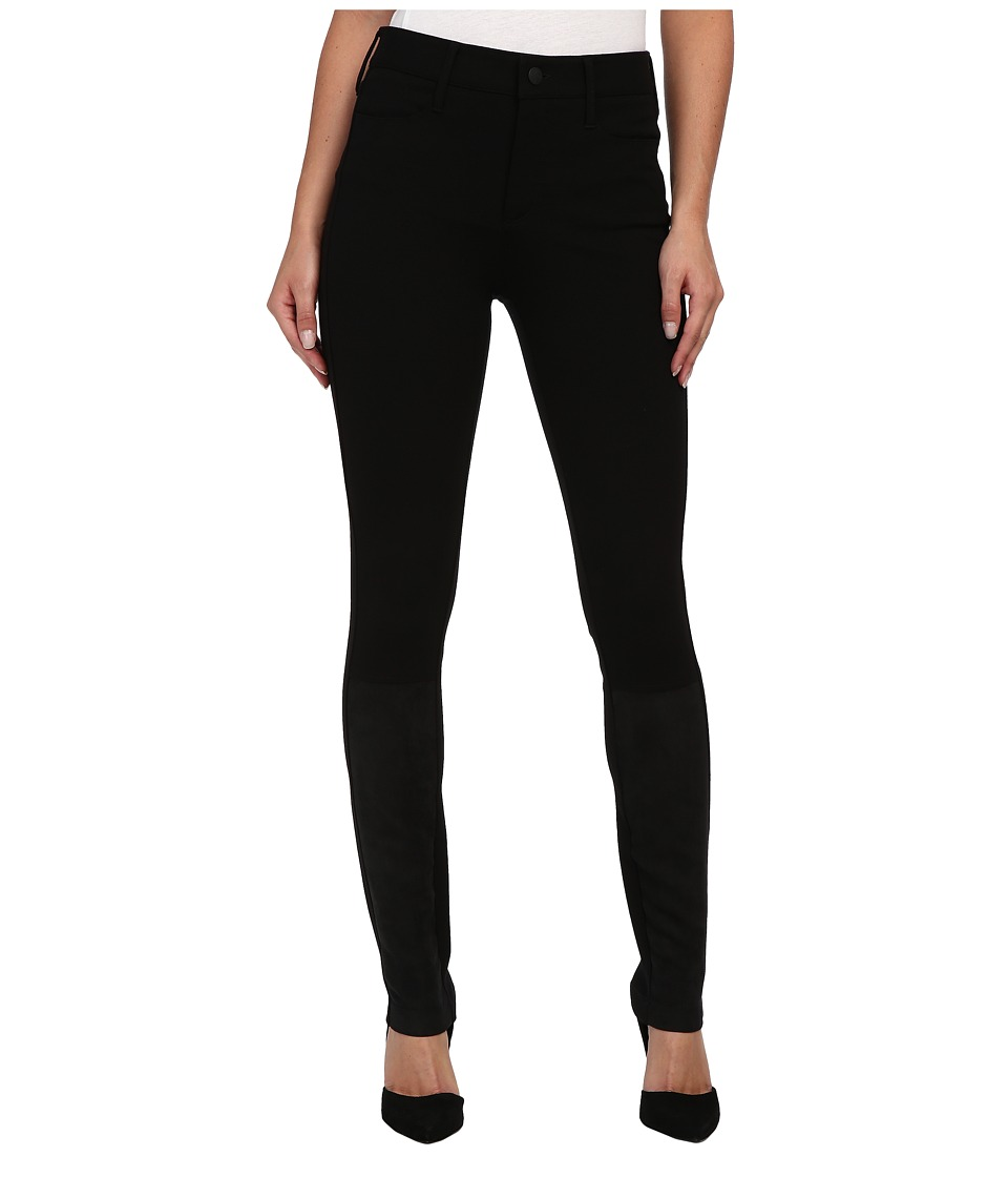 NYDJ - Ponte Knit Five-Pocket Legging w/ Suede Details (Black) Women