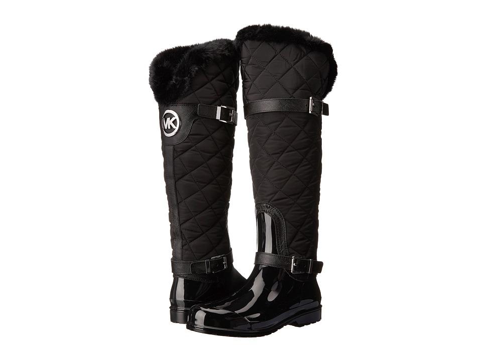 MICHAEL Michael Kors - Fulton Quilted Rainboot (Black Rubber/Nylon/Saffiano) Women's Rain Boots