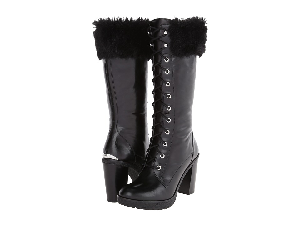 MICHAEL Michael Kors - Kim Boot (Black Distressed Vachetta/Faux Fur) Women