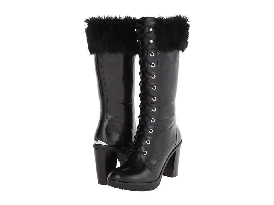MICHAEL Michael Kors - Kim Boot (Black Distressed Vachetta/Faux Fur) Women