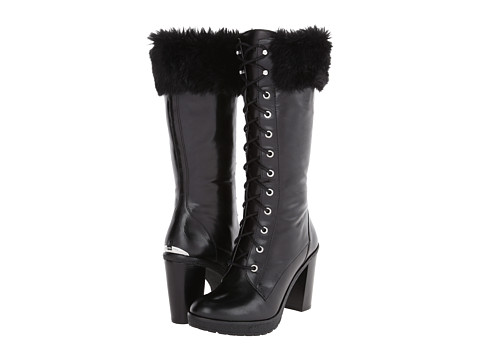 MICHAEL Michael Kors - Kim Boot (Black Distressed Vachetta/Faux Fur) Women's Cold Weather Boots