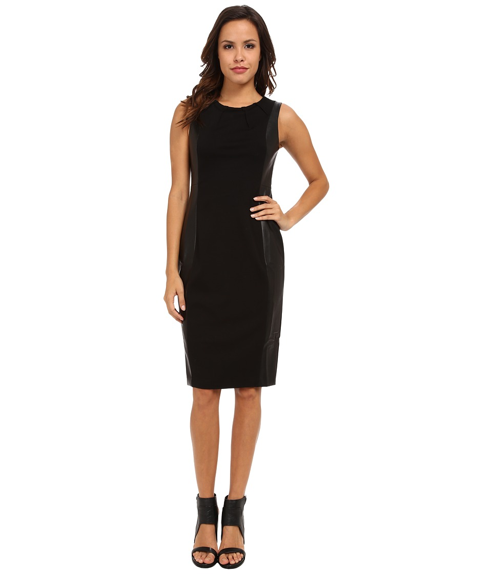NYDJ - Mia Ponte Faux Leather Dress (Black) Women