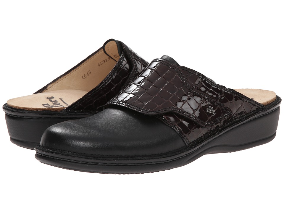 Finn Comfort - Aussee - 82526 (Black/Vino Leather Soft Footbed) Women's Clog Shoes