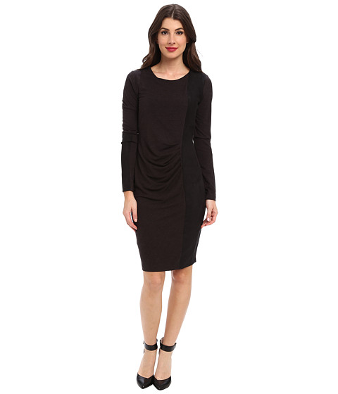 NYDJ - Stella Jersey Faux Suede Blocked Dress (Heather Black) Women