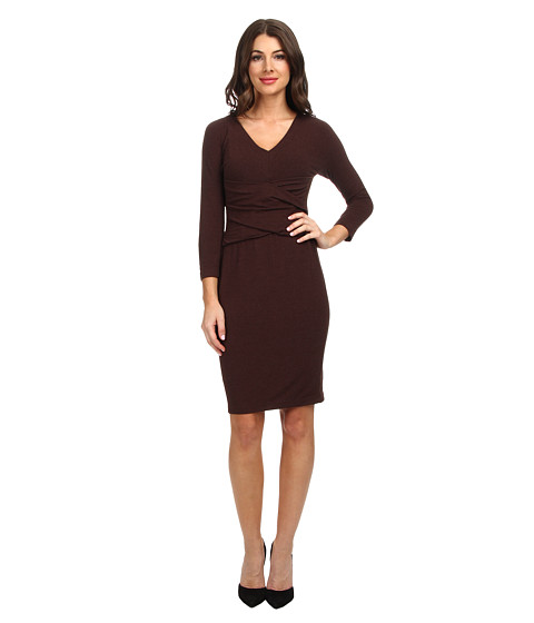 NYDJ - Lily Knit Crisscross Dress w/ Faux Suede (Heather Caribou) Women's Dress