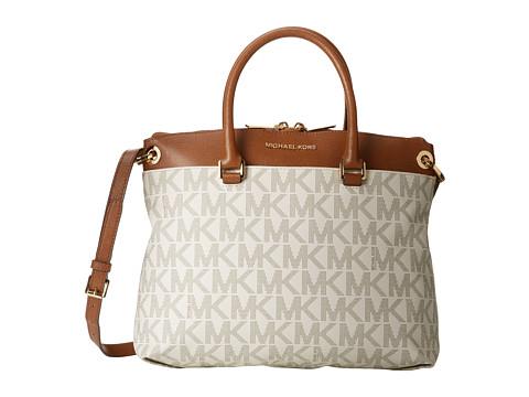 MICHAEL Michael Kors Aubrey Large Satchel (Vanilla/Luggage) Satchel Handbags