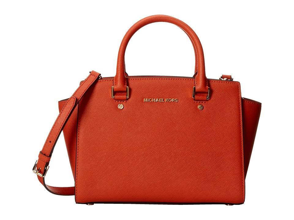 MICHAEL Michael Kors - Selma Medium Tz Satchel (Orange) Satchel Handbags