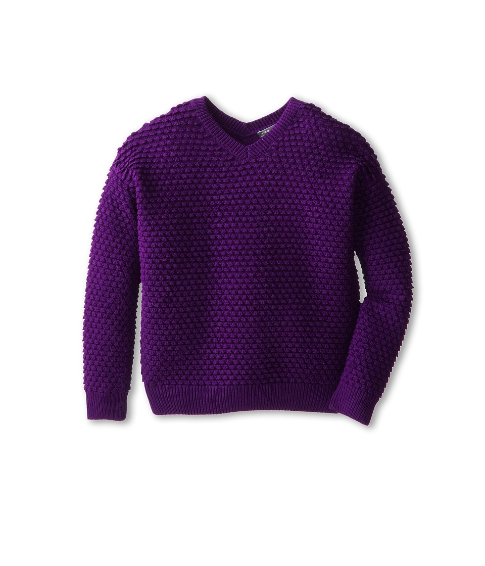 Vince Kids - Textured V-Neck (Big Kids) (Imperial Purple) Girl
