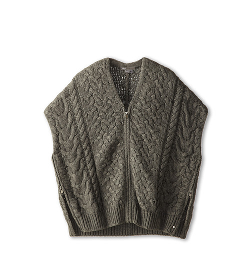 Vince Kids - Cable Knit Poncho (Big Kids) (Dark Shadow) Girl's Sweater