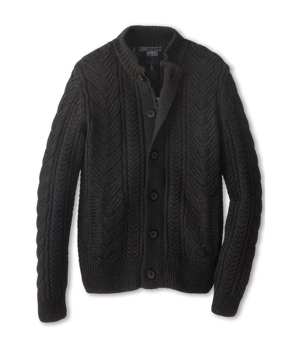Vince Kids - Mock Neck Cable Zipper Cardigan (Big Kids) (Charcoal Heather) Boy's Clothing