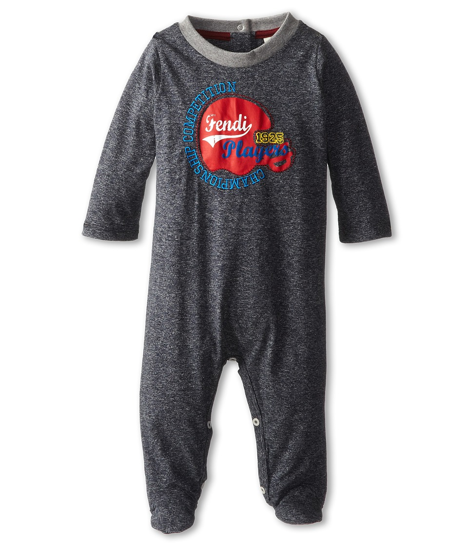 Fendi Kids - Fendi Athlethic Footie (Infant) (Marled Grey) Boy's Jumpsuit & Rompers One Piece