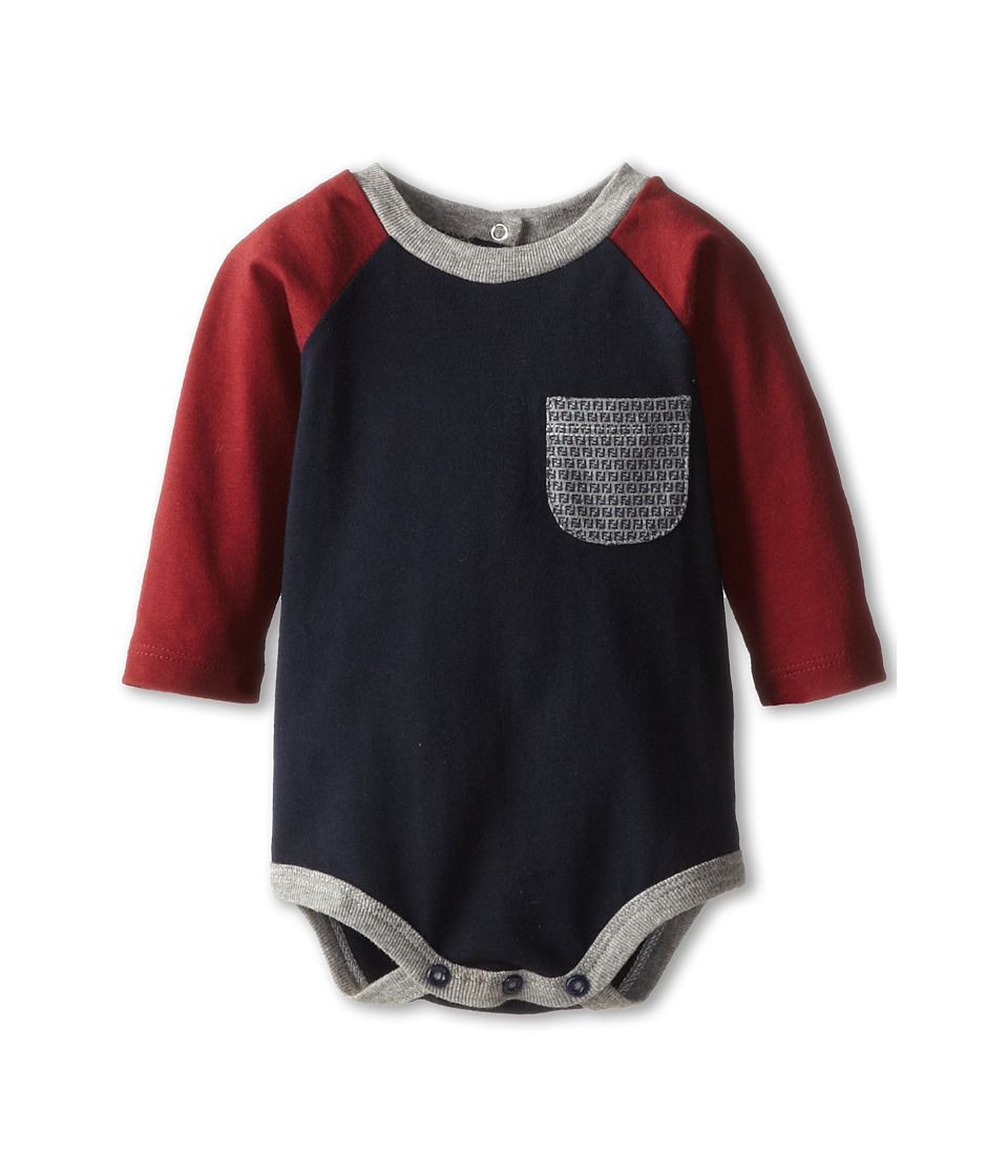 Fendi Kids - Raglan Body Suit w/ Minilogo Pocket (Infant) (Navy) Boy