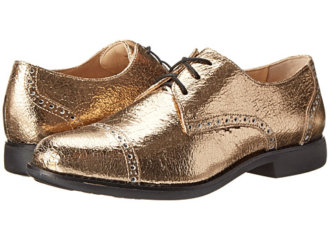 Cole Haan - Gramercy Oxford (Chestnut Gold Metallic Crackle/Black) Women's Lace Up Wing Tip Shoes