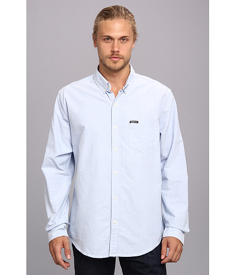 Members Only - Oxford Cotton Shirt (Blue) Men's Long Sleeve Button Up