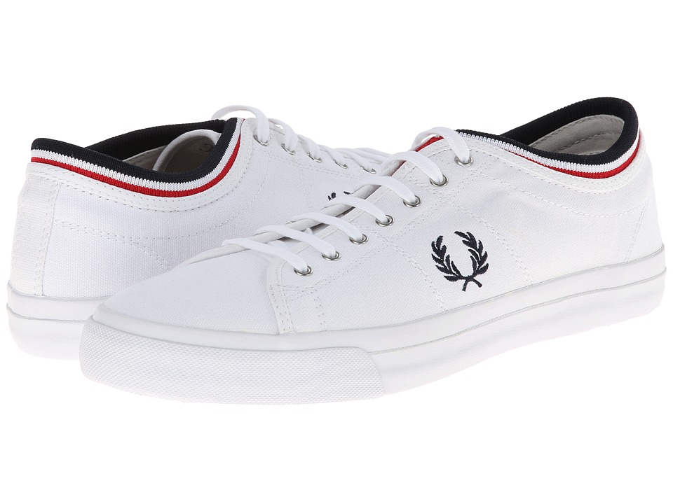 Fred Perry - Kendrick Tipped Cuff Canvas (White/Navy) Men's Lace up casual Shoes
