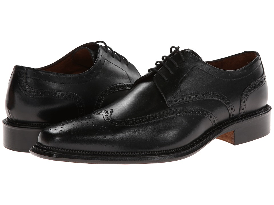 Massimo Matteo - 4-Eye Wing Tip (Black) Men's Lace Up Wing Tip Shoes