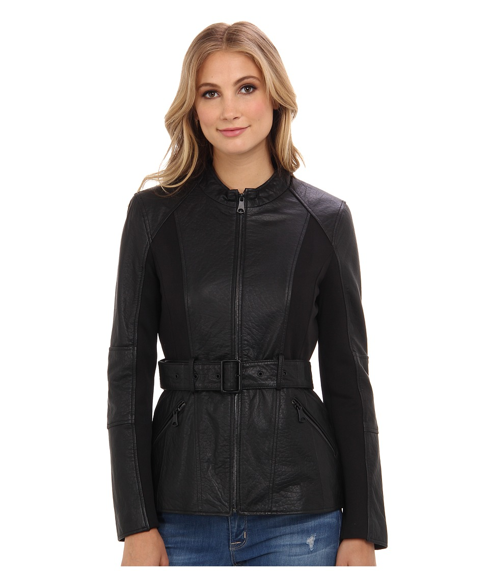 Marc New York by Andrew Marc - Bailey - Bubble Leather w/ Belt (Black) Women's Coat