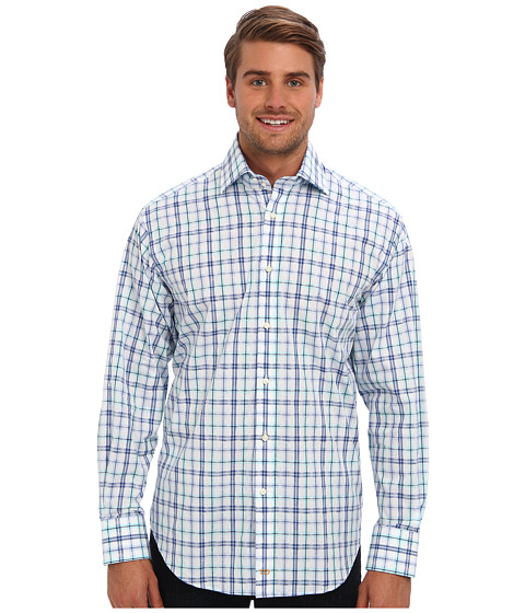 Thomas Dean & Co. - L/S Spread Collar Jacquard Plaid (Blue) Men's Long Sleeve Button Up
