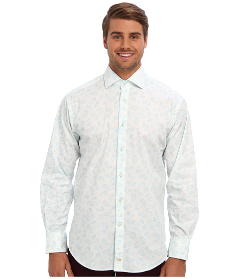 Thomas Dean & Co. - L/S Spaced Paisley Print Button Down Sport Shirt (Light Blue) Men's Long Sleeve Button Up