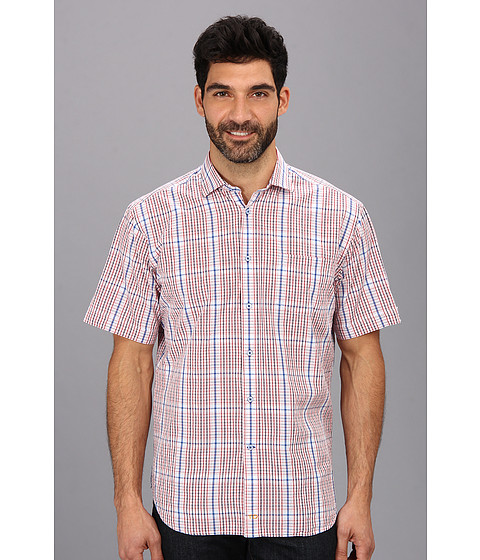 Thomas Dean & Co. - Red Poplin Plaid S/S Button Down Shirt w/ Chest Pocket (Red) Men
