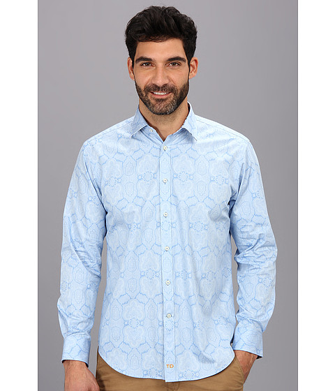 Thomas Dean & Co. - L/S Tailored Fit Paisley Print Button Down Sport Shirt (Blue) Men's Long Sleeve Button Up