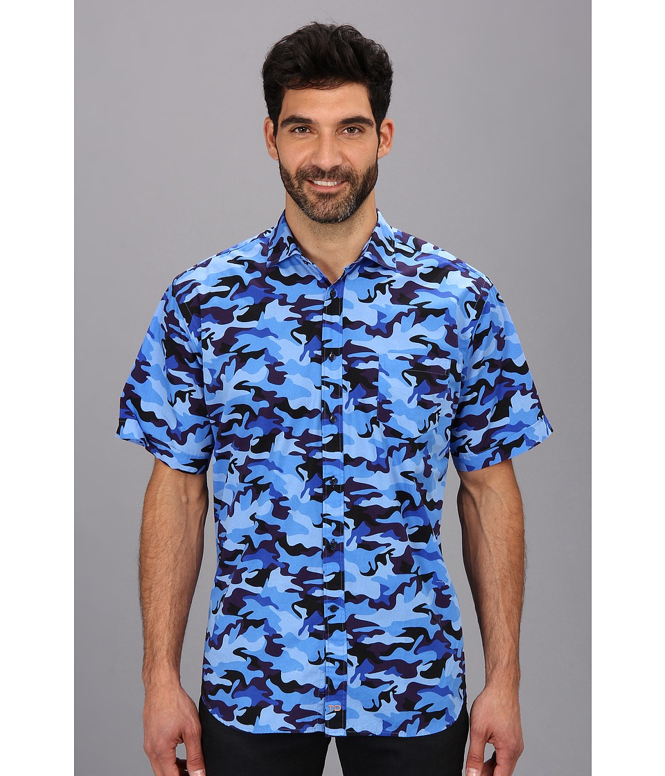 Thomas Dean & Co. - Blue Camo Print S/S Button Down Shirt w/ Chest Pocket (Blue) Men's Short Sleeve Button Up