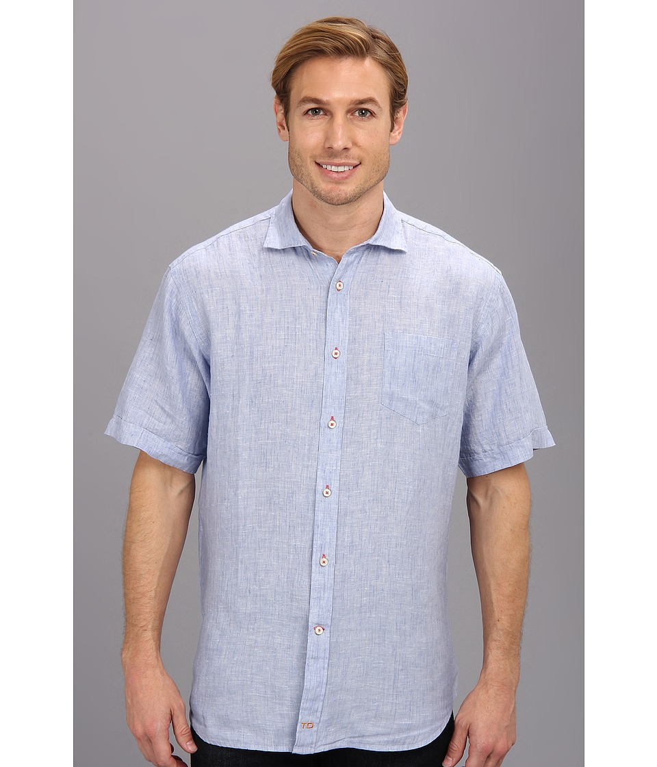 Thomas Dean & Co. - Light Blue Linen Solid S/S Button Down Shirt w/ Chest Pocket (Light Blue) Men's Short Sleeve Button Up