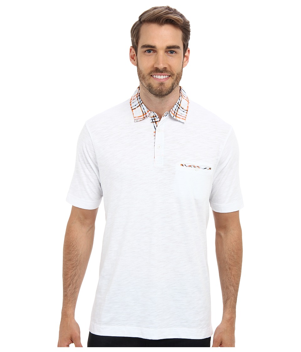Thomas Dean & Co. - S/S Cotton Jersey Polo Woven Collar/Pocket Trim (White) Men's Short Sleeve Pullover