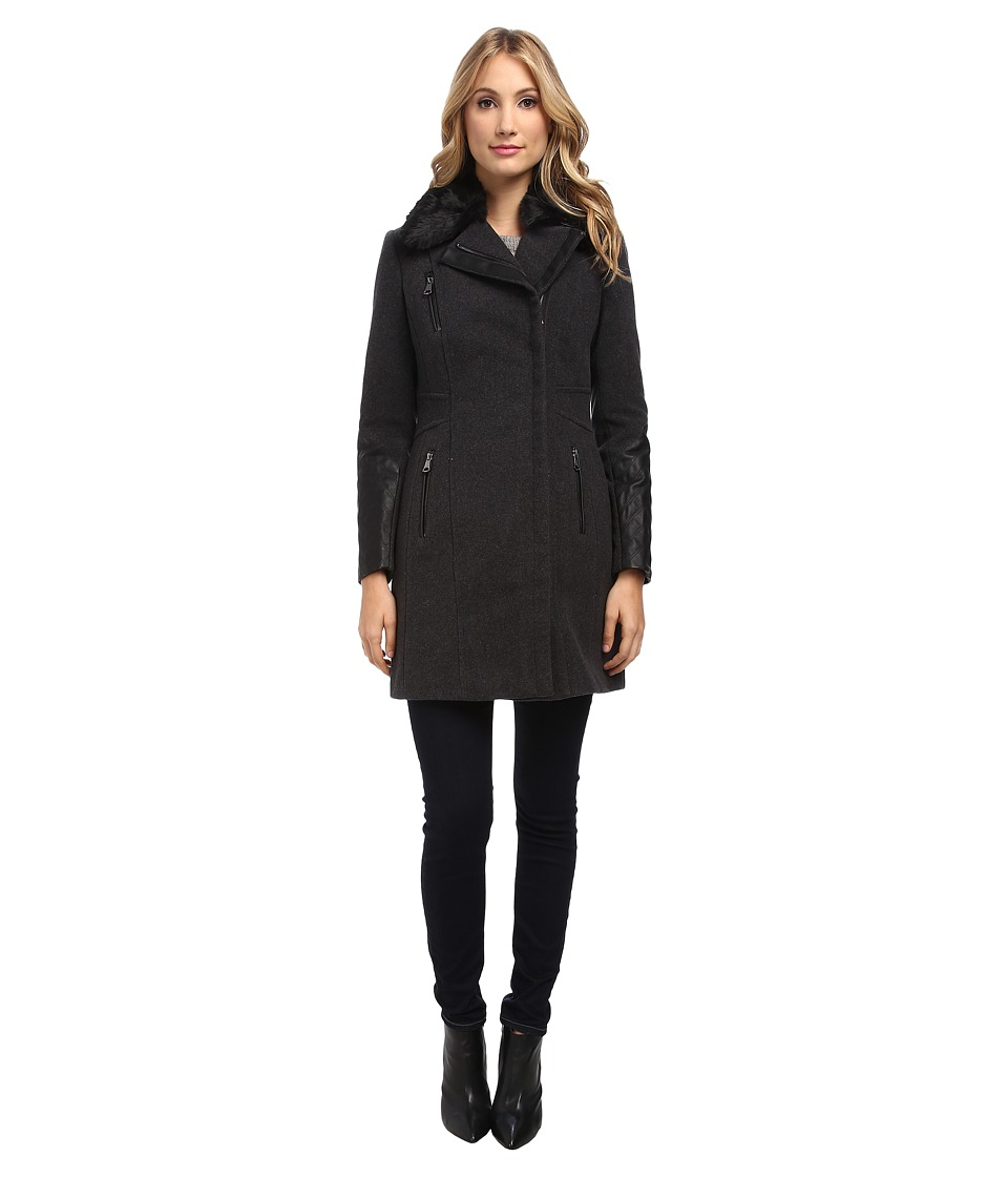 Marc New York by Andrew Marc - Paula - Wool Plush w/ Faux Fur (Charcoal) Women's Coat