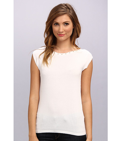 Calvin Klein - Shell w/ Neck Studs (Soft White) Women's Sleeveless