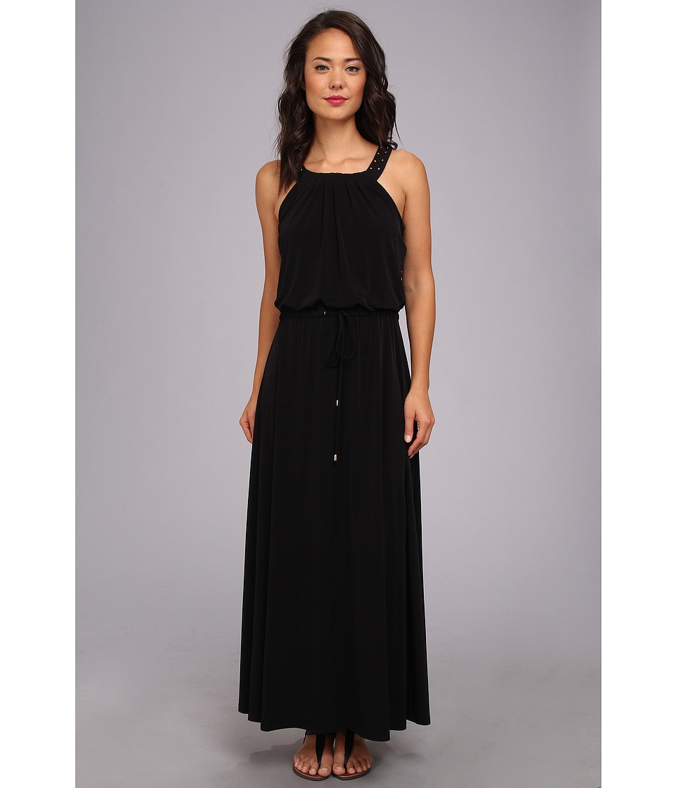 Calvin Klein - Solid Maxi Dress w/ Studs (Black) Women's Dress