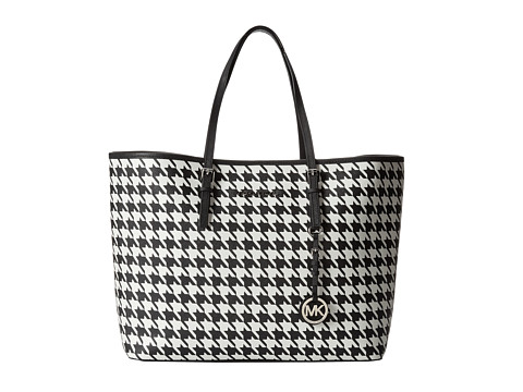 MICHAEL Michael Kors Jet Set Travel Medium Travel Tote (Black/White) Tote Handbags