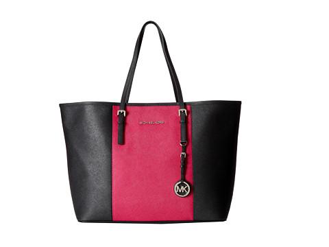MICHAEL Michael Kors Jet Set Travel Center Stripe Medium Travel Tote (Black/Deep Pink) Tote Handbags