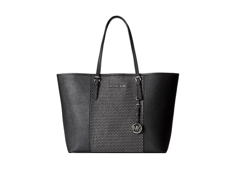 MICHAEL Michael Kors Microstud Jet Set Center Stripe Medium Travel Tote (Black) Tote Handbags
