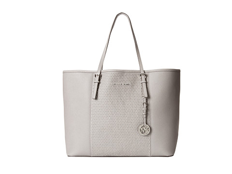 MICHAEL Michael Kors - Microstud Jet Set Center Stripe Medium Travel Tote (Pearl Grey) Tote Handbags