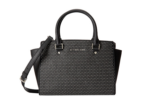 MICHAEL Michael Kors Microstud Selma Medium TZ Satchel (Black) Satchel Handbags