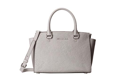 MICHAEL Michael Kors Microstud Selma Medium TZ Satchel (Pearl Grey) Satchel Handbags