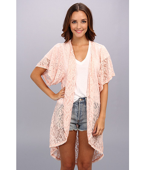 Brigitte Bailey - Lana Lace Kimono (Peach) Women's Sweater