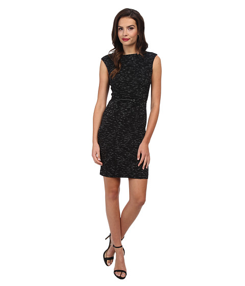 Calvin Klein - Ponte Cap Sleeve Belted Sheath (Black) Women's Dress