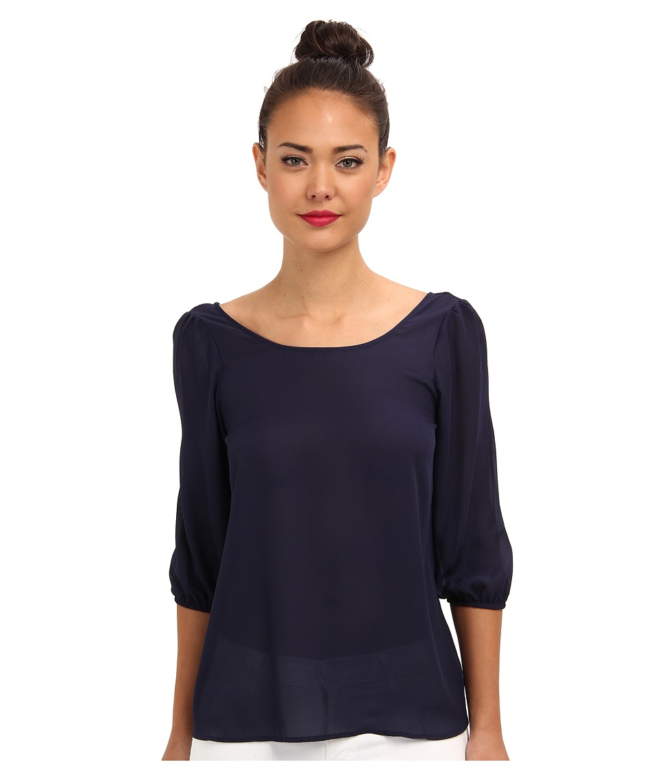 Brigitte Bailey - Bow 3/4 Sleeve Chiffon Top (Navy) Women's Blouse