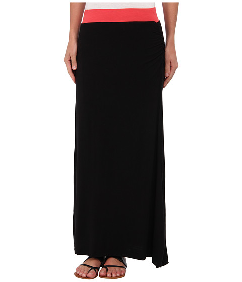 Gabriella Rocha - Side Slit Maxi Skirt (Coral/Black) Women's Skirt