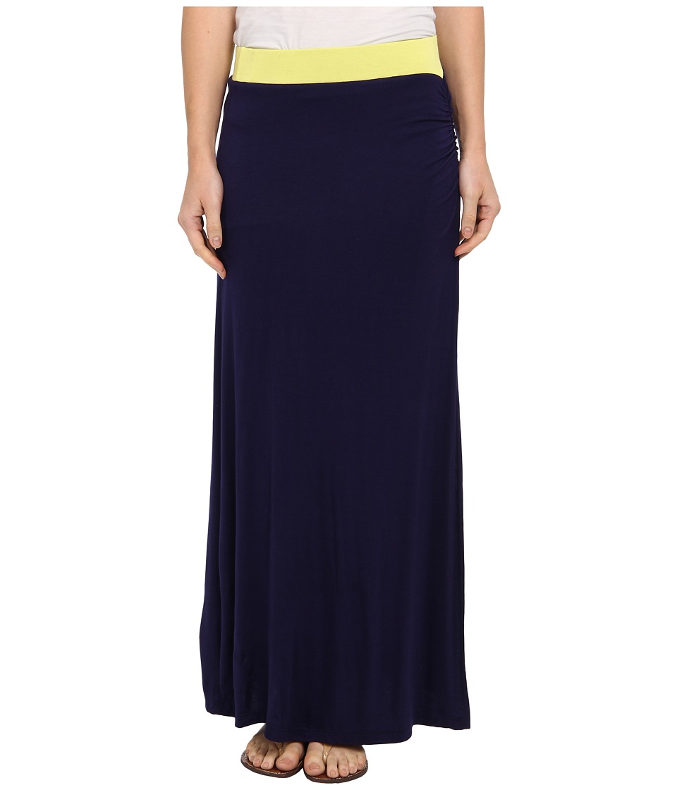 Gabriella Rocha - Side Slit Maxi Skirt (Citron/Navy) Women's Skirt