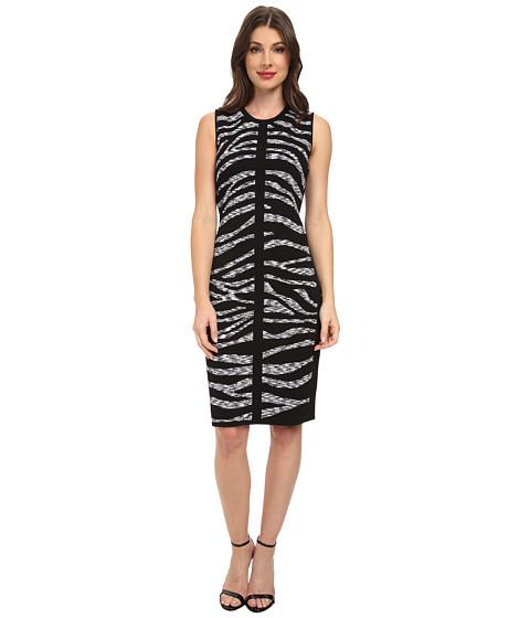 Calvin Klein - Printed Rayon Sweater Dress (Black/Eggshell) Women's Dress