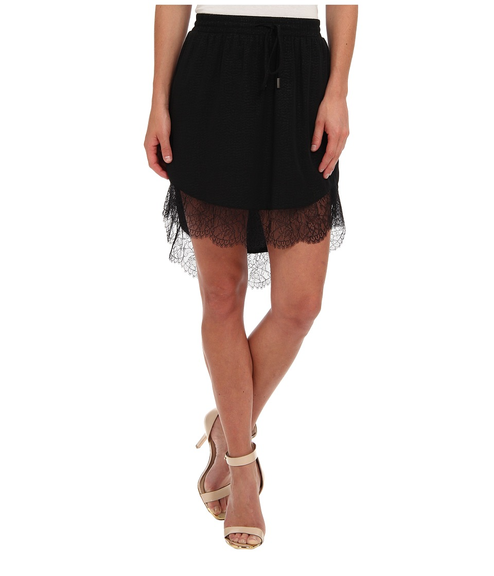 BCBGeneration - Lace Trim Hi-Lo Skirt (Black) Women's Skirt