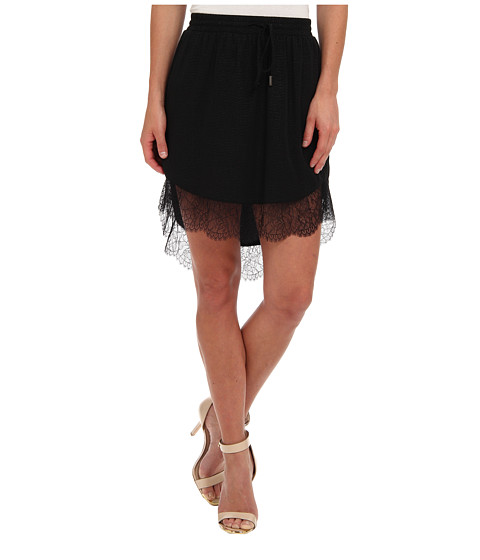 BCBGeneration - Lace Trim Hi-Lo Skirt (Black) Women