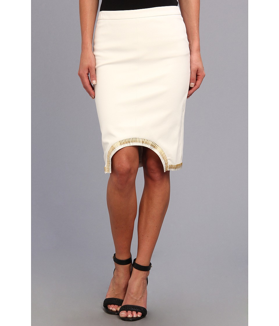 Brigitte Bailey - Sass Master Midi Pleather Skirt (White) Women's Skirt