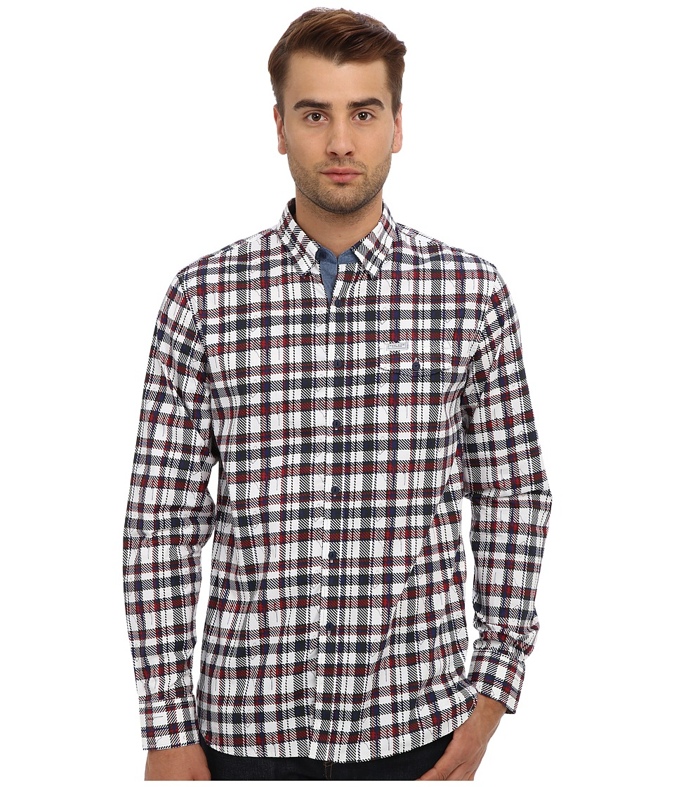 Marc Ecko Cut & Sew - Drippy Tartan L/S Woven (Navy) Men's Long Sleeve Button Up