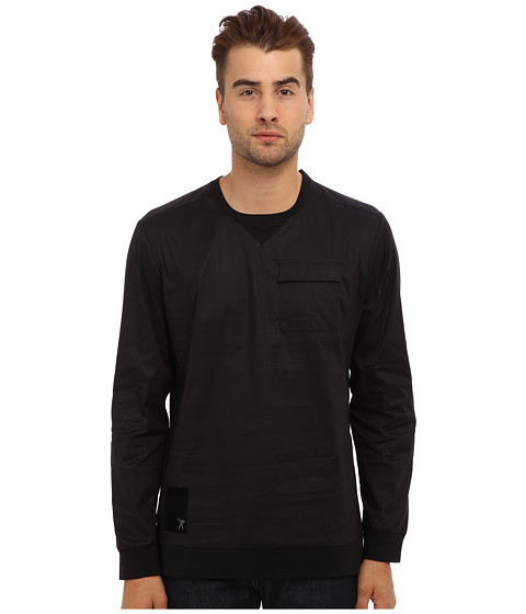 Marc Ecko Cut & Sew - Popper Crew Pullover (Black) Men's Long Sleeve Pullover