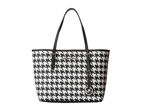 MICHAEL Michael Kors Jet Set Travel Small Travel Tote (Black/White) Tote Handbags