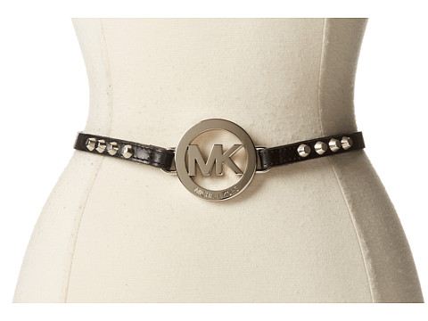 MICHAEL Michael Kors - 13mm Veg Leather with MK Logo Ornament (Black) Women's Belts